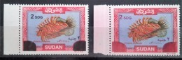 SUDAN 2008 Issue : Fish Stamp Overprinted New Values 2 SGD Both In Red & Black Varieties - RARE - MNH - Sudan (1954-...)