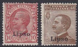 ITALIA - LIPSO - 1912 - Lotto Di 2 Valori Nuovi Non Linguellati: Unificato 3 E 6. - Aegean (Lipso)
