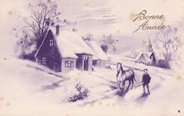 AK Bonne Année - Dorf Pferd Winter Bauer - 1943 (41430) - Anno Nuovo