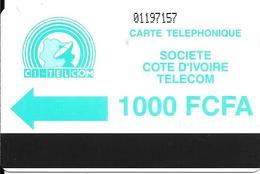 CARTE MAGNETIQUE-COTE IVOIRE-AUTELCA-1000 FCFA-VERTE-TBE-RARE - Ivoorkust