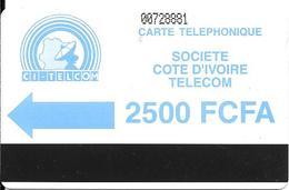 CARTE MAGNETIQUE-COTE IVOIRE-AUTELCA-2500 FCFA-BLEU-TBE-RARE - Ivoorkust