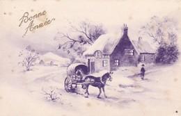 AK Bonne Année - Dorf Pferdekutsche Winter - 1943 (41434) - Anno Nuovo