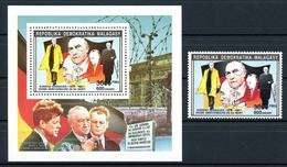 Madagaskar MiNr. 1395 II A + Einzelblock Postfrisch MNH Adenauer (O6371 - Madagaskar (1960-...)