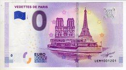 2019-1 BILLET TOURISTIQUE 0 EURO SOUVENIR N° UEMY001201 VEDETTES DE PARIS Notre Dame Et Tour Eiffel - EURO