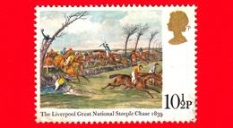GB  UK GRAN BRETAGNA - Usato 1979 - Dipinti Di Corse Di Cavalli - The Liverpool Great National Steeple Chase 1839 - 10½ - Usati