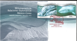 J) 2012 MEXICO, 50TH ANNIVERSARY OF THE DIPLOMATIC RELATIONS MEXICO-KOREA, JOINT ISSUE OF THE WHITE WHALE, FDC - Mexico