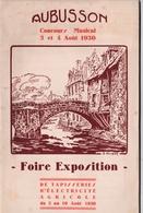 Livret  1930 Aubusson (23) Foire Exposition Tapisseries Electricité Agricole  Gravure Rougier Pub Ford Panhard ....56 Pa - Dépliants Touristiques