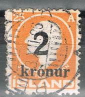 Island 119 Gestempelt - 2 Kr. Auf 25 Aurar Aufdruck 1925 - 1918-1944 Administration Autonome
