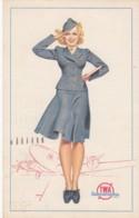 TWA Trans-World Airlines Stewardess Petty Artist Image C1940s Vintage Postcard - Aviazione