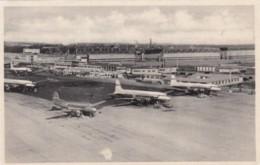 Copenhagen Denmark Airport Propeller Planes On Tarmac Terminal Building, C1950s Vintage Postcard - Aerodromes