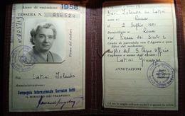MINISTERO DEI TRASPORTI FERROVIE STATO TESSERA RICONOSCIMENTO 1958 - Abonnements Hebdomadaires & Mensuels