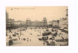 Gare Du Nord Et Place Rogier.Expédié En Franchise Militaire à Criel Sur Mer (Seine Maritime/France). Oldtimer.Autos.TRam - Transport (rail) - Stations
