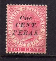 MALAYA PERAK MALESIA 1886 QUEEN VICTORY OVERPRINT ONE CENT PERAK CENTS 2c MLH - Perak