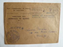 HAUT COMMISSARIAT DE FRANCE EN INDOCHINE DIRECTION DES DOMMAGES DE GUERRE SAIGON  CACHET Flamme Croix Rouge Taxe Simple - Indochina (1889-1945)