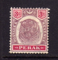 MALAYA PERAK MALESIA 1895 1899 TIGER TIGRE CENT. 3c MLH - Perak