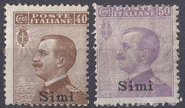 ITALIA - SIMI - 1912 - Lotto Di 2 Valori Nuovi Non Linguellati: Unificato 6 E 7. - Aegean (Simi)