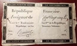 ASSIGNAT DE CENT VINGT-CINQ FRANCS  MONNAIE BILLET RECTO-VERSO - Assignats & Mandats Territoriaux