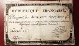 ASSIGNAT DE DEUX CENT CINQUANTE LIVRES 250 LIVRES MONNAIE BILLET RECTO-VERSO - Assignats