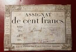 ASSIGNAT DE CENT FRANCS CACHET LIVRES ANCIENS BAYE... PARIS MONNAIE BILLET PHOTO RECTO-VERSO NUMISMATIQUE - Assignats