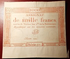 ASSIGNAT DE MILLE FRANCS EN TRES BON ETAT MONNAIE BILLET PHOTO RECTO-VERSO NUMISMATIQUE - Assignate