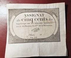 ASSIGNAT DE CINQ CENTS LIVRES EN BON ETAT MONNAIE BILLET PHOTO RECTO-VERSO NUMISMATIQUE - Assignate