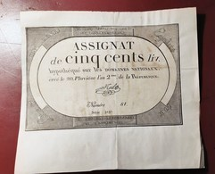 ASSIGNAT DE CINQ CENTS LIVRES EN BON ETAT MONNAIE BILLET PHOTO RECTO-VERSO NUMISMATIQUE - Assignats