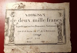 ASSIGNAT DE DEUX MILLE FRANCS MONNAIE BILLET PHOTO RECTO-VERSO NUMISMATIQUE - Assignats & Mandats Territoriaux