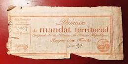 PROMESSE DE MANDAT TERRITORIAL POUR CENT FRANCS ASSIGNAT MONNAIE BILLET PHOTO RECTO-VERSO NUMISMATIQUE - Assignats & Mandats Territoriaux