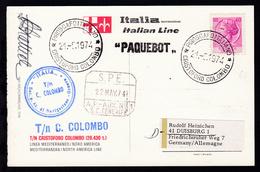 PIROSCAFO ITALIANO CRISTOFORO COLOMBO 28.3.1974 + L1 + Bordstempel Auf CAK  - Briefmarken