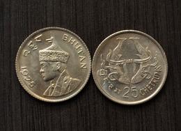 Bhutan 25 TWENTY FIVE CHHERTUM 1975 KM40 UNC COIN ASIAN CURRENCY / MONEY - Bhutan