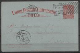 Chili - CP EP 3cvs Ch. Colomb Rouge Flam. SANTIAGO /21-X-1898 + VALPARAISO /22.X.1898 Pour LILLE - Chile