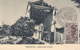 Carte  Maximum  1er  Jour  ALGERIE   Séisme  D' ORLEANSVILLE  1954 - Maximumkarten