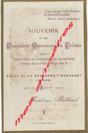 Faire-part Communion Privée En 1911- Madeleine BELLARD-église De La  Chaussée Tirancourt - Communion