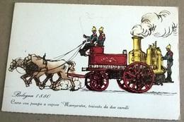 MINISTERO DELL'INTERNO COMANDO PROV. VIGILI DEL FUOCO BOLOGNA 1880 CARRO CON POMPA A VAPORE... (408) - Pompieri