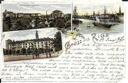 Lettonie ,-  GRUSS Aus  RIGA  (état Moyen ,  Voyagée En 1897 ) - Lettonie