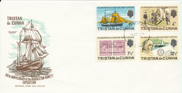 Tristan Da Cunha FDC 1-6-1971 50th Anniversary Of The Shackleton Rowett Expedition Complete Set Of 4 With Cachet - Tristan Da Cunha