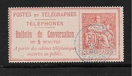 France Timbres Télégraphes N°4 Belle Oblitération - Télégraphes Et Téléphones