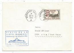 20C JO ROME  LETTRE C. HEX PERLE ESCADRE LEGERE 25.4.1960 + GRIFFE BLEUE VISITE FLOTTE FRANCAISE HAMBOURG D 626 - Postmark Collection (Covers)
