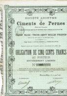 62-CIMENTS De PERNES (PAS -de-CALAIS). Obligation 500 F 1891 - Shareholdings