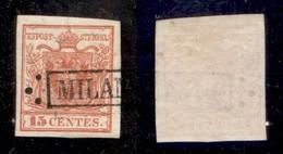 ANTICHI STATI - LOMBARDO VENETO - 1850 - 15 Cent (3 A - Prima Tiratura) - Usato A Milano (75) - Postzegels