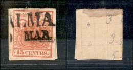 ANTICHI STATI - LOMBARDO VENETO - 1850 - 15 Cent (3 B - Prima Tiratura) - Usato A Palma (90) - Postzegels