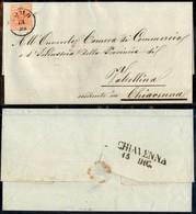 ANTICHI STATI - LOMBARDO VENETO - Lilliput - 15 Cent (6) - Ritagliato Nel Disegno - Lettera Da Como A Chiavenna Del 14.1 - Postzegels