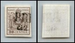 ANTICHI STATI - LOMBARDO VENETO - 1850 - 30 Cent (7a - Prima Tiratura) - Usato A Brescia (75) - Postzegels