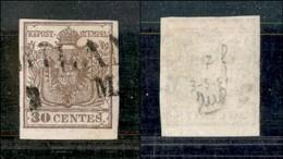 ANTICHI STATI - LOMBARDO VENETO - 30 Cent (7e - Bruno Grigiastro) - Usato A Milano (45) - Postzegels