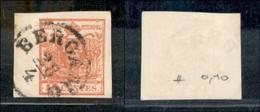 ANTICHI STATI - LOMBARDO VENETO - 1854 - 15 Cent (20) - Bordo Foglio A Sinistra (7mm) - Usato A Bergamo - Postzegels