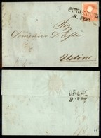 ANTICHI STATI - LOMBARDO VENETO - 5 Soldi (25) - Lettera Da Pordenone A Udine Del 8.2.59 - Angolo Superiore Destro Arrot - Postzegels