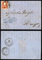 ANTICHI STATI - LOMBARDO VENETO - 5 Soldi (30) Con Tassello Del Valore Molto Inchiostrato - Letterina Da Venezia A Rovig - Postzegels