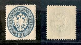 ANTICHI STATI - LOMBARDO VENETO - 1894 - Ristampe - 10 Soldi Azzurro (R20) Con Parte Di Filigrana - Gomma Integra - Postzegels