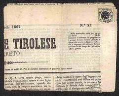 ANTICHI STATI - LOMBARDO VENETO - Segnatasse - 1 Kreuzer (3) Su Giornale Da Rovereto Del 11.4.62 - Postzegels