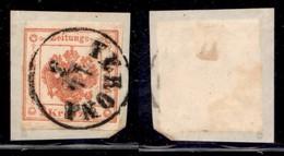 ANTICHI STATI - LOMBARDO VENETO - 1858 - Segnatasse Giornali - 2 Kreuzer (3) Stretto A Sinistra - Usato A Verona Su Fram - Postzegels